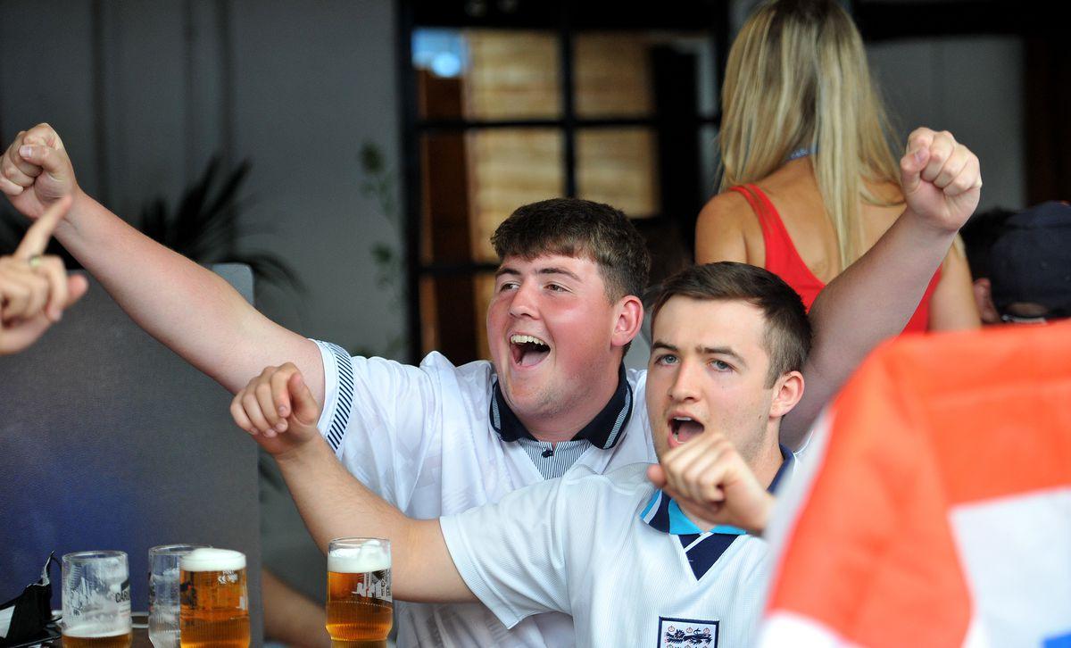 England fans at the Salopian Bar, Shrewsbury, to watch England v Croatia