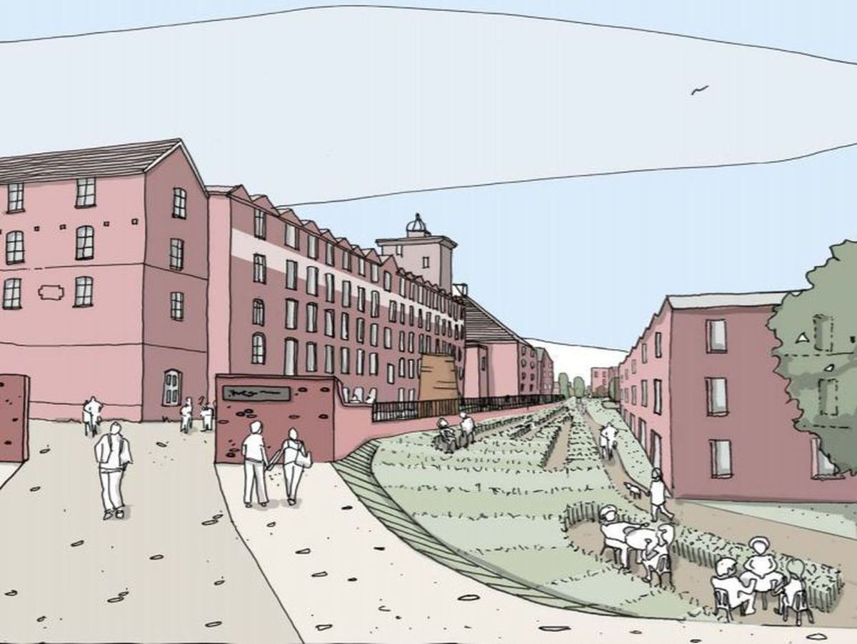 An artist's impression of how the development could look, with the former canal route covered in grass