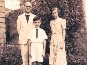 Ian with his parents, growing up in China