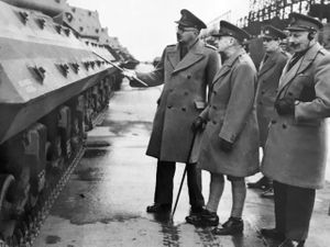 A top brass visit during the war – from left, Major General Bill Williams, General Riddell-Webster and, with the hearing aid, the COD Donnington commander Brigadier de Wolff.