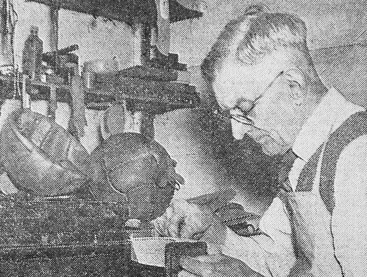 Jack Simmonds was pictured at work by the Wellington Journal in 1962.