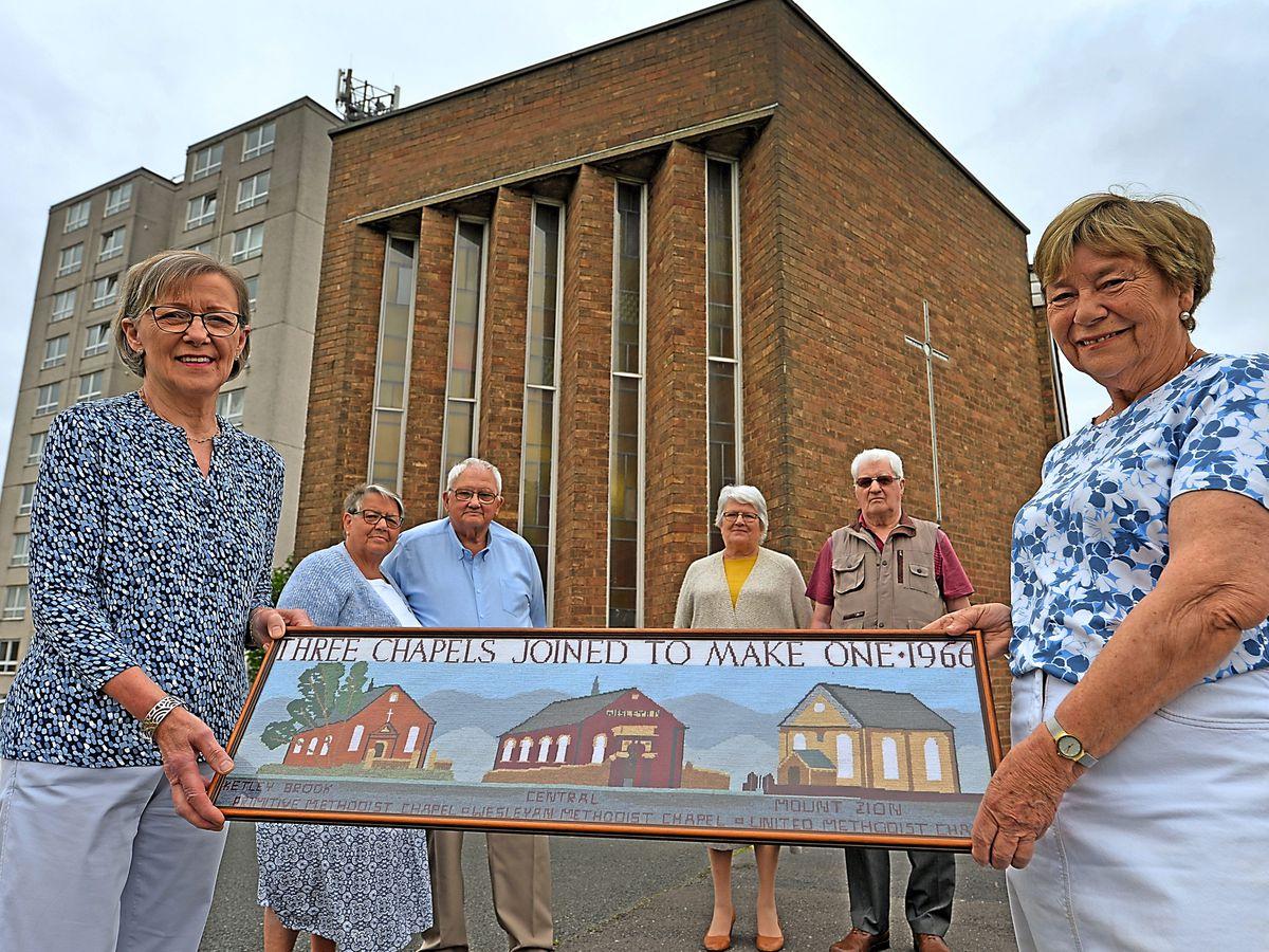 Ketley Methodist Church members Mary Donaldson, Ann and Anthony Davies, Christine and Daniel Clarke, and Meryl Stobbs.