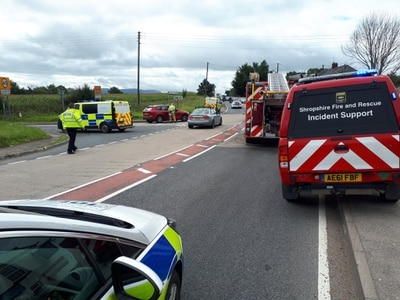 Two trapped after four-vehicle crash at notorious A483 junction