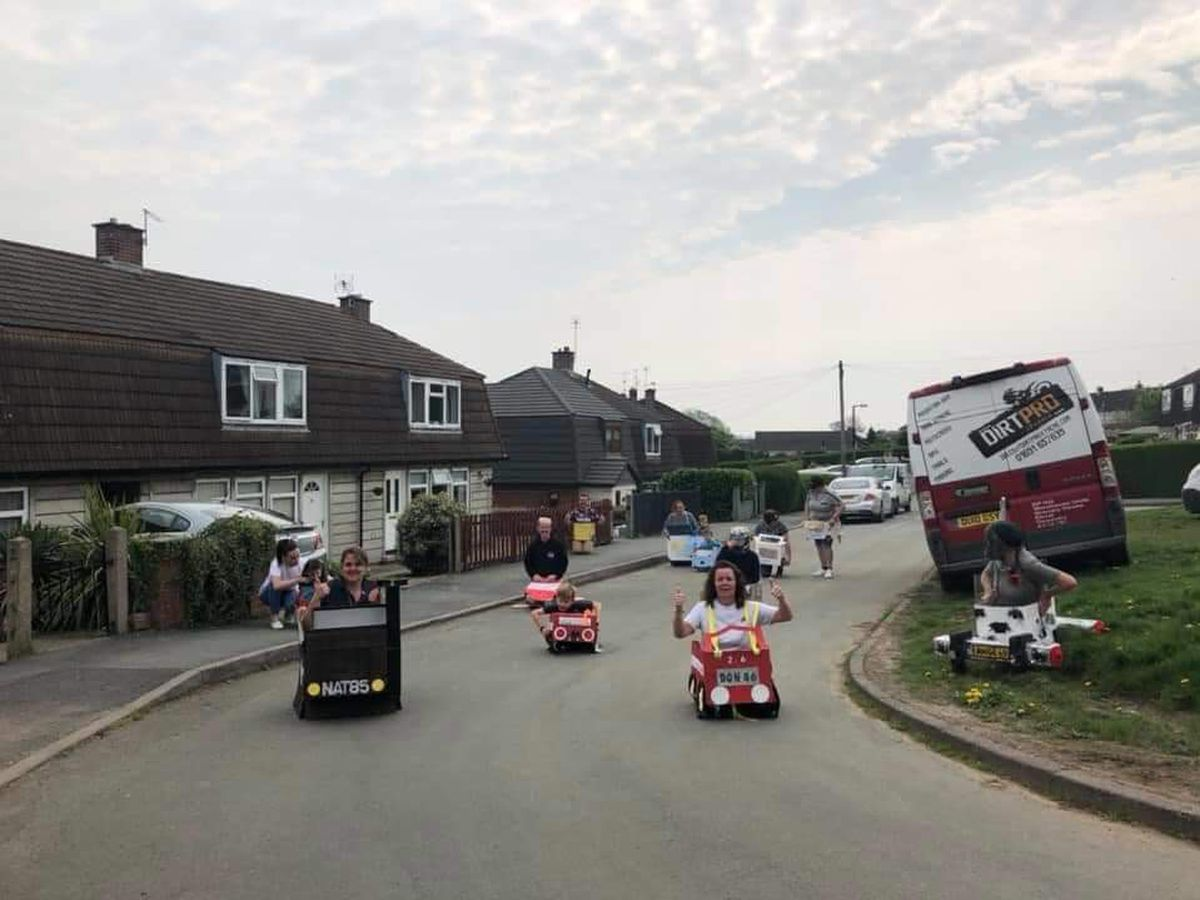 Neighbours in West Place, Gobowen held their own lockdown Wacky Races