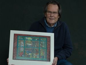 John Wragg with his winning artwork, 'Four - World Window'