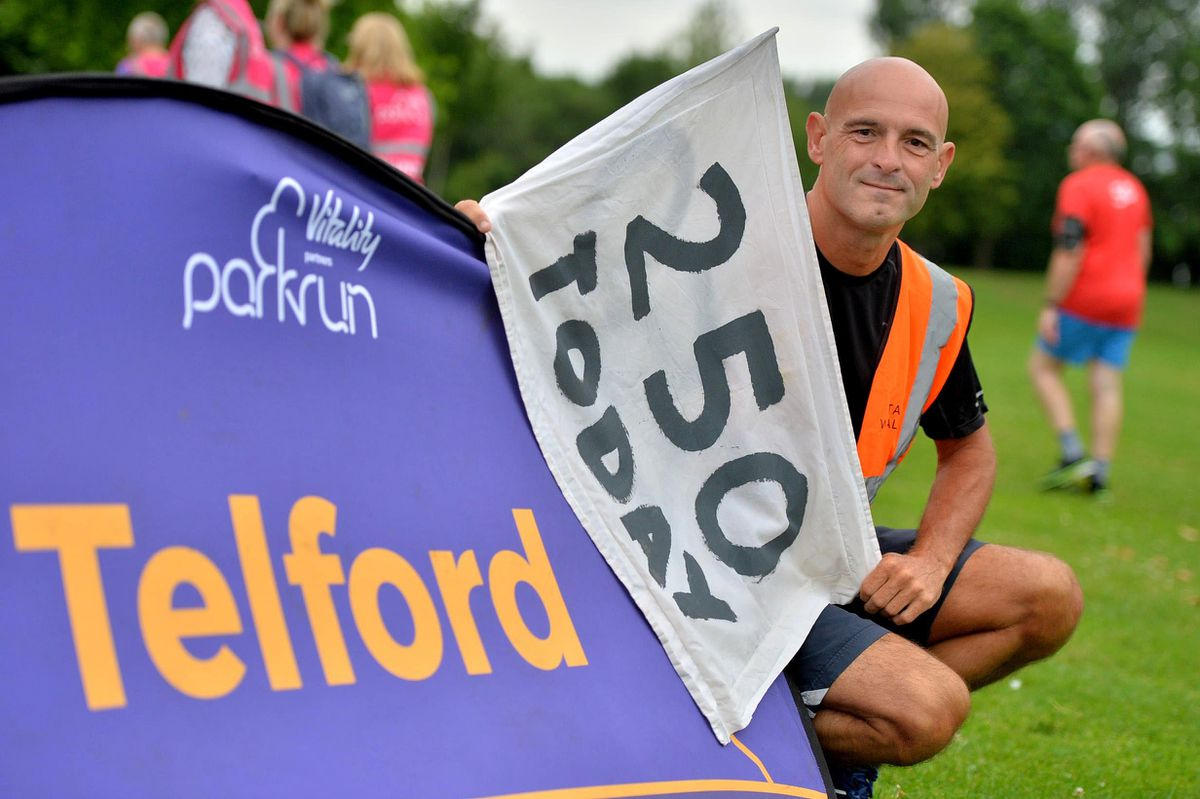 Clocking up his 250th parkrun is Paul Waters, from Little Dawley