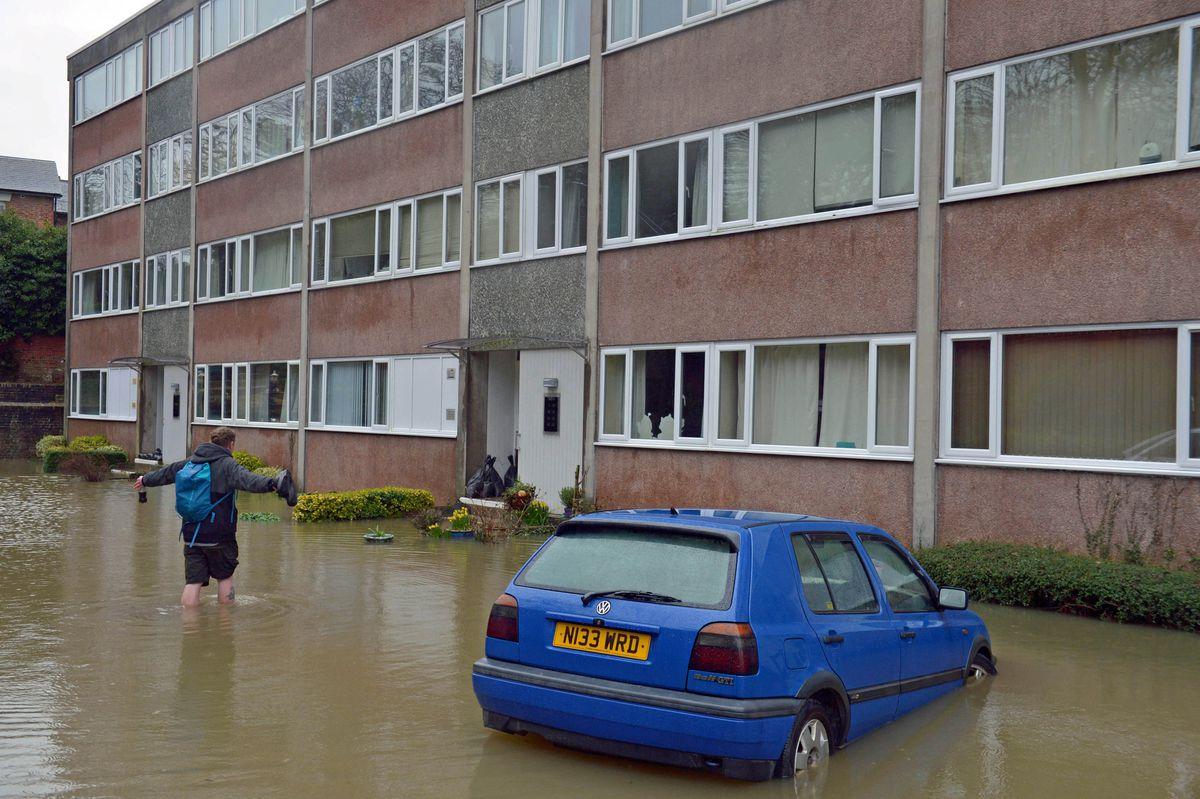 Flooding in Berwick Road, Shrewsbury