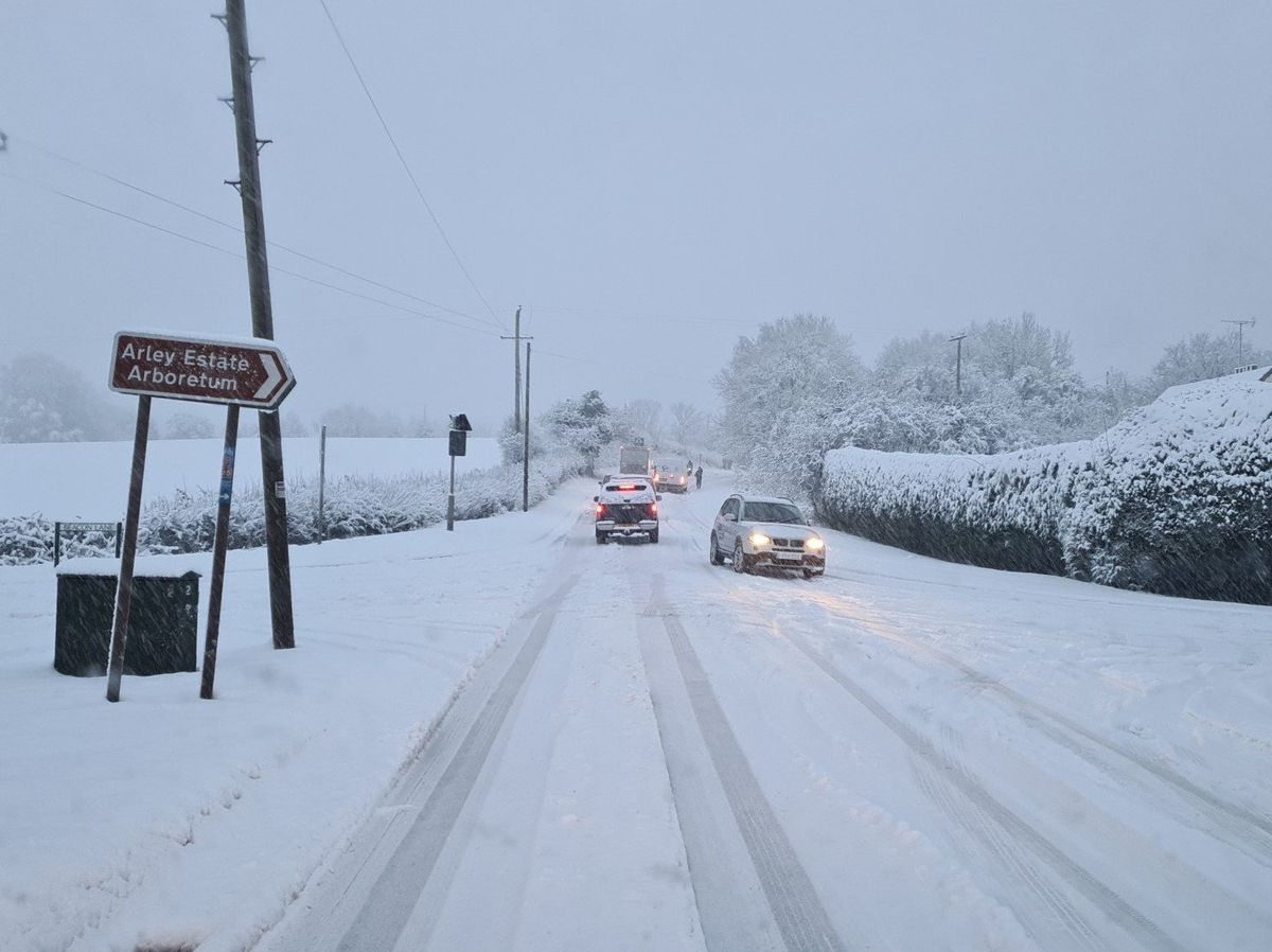Snow on the A442 at Shatterford. Photo: Steve Tripp