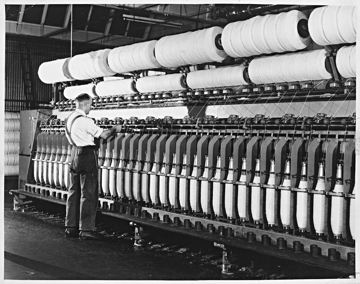 Brintons Carpets, Telford – October 3, 1968. Operators will work on modern spinning machines.