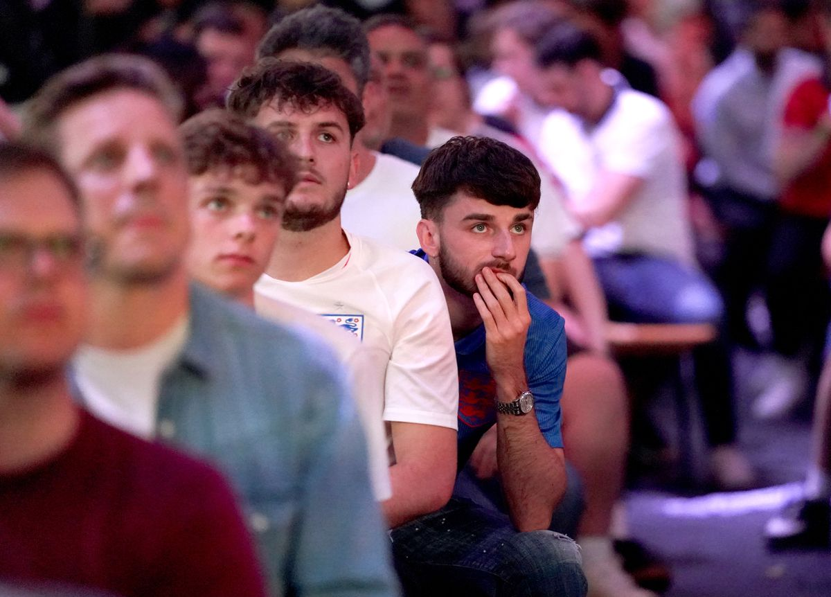 A fan at BOXPARK in Croydon reacts watches the Euro 2020 semi final match between England and Denmark