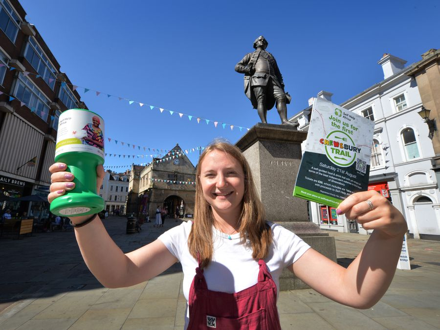 SHREWS PIC MNA PIC DAVID HAMILTON PIC  EXPRESS AND STAR 16/6/21 Getting ready for the Chews'bury Trail, raising funds for Self Help Africa, fundraising officer Hannah Newton, at The Square, Shrewsbury...