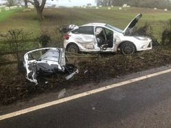 Driver cut free after two-car crash near Whitchurch