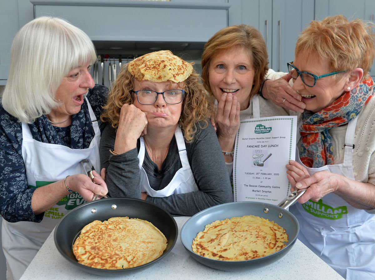 MARKET DRAYTON COPYRIGHT TIM STURGESS SHROPSHIRE STAR...... 05/02/2020.....  The local Macmillan cancer support group is having a pancake day lunch on February 25. Pictured left, Helen Kay,Trudie Moffatt, Carol Sharratt and Sue Harrison..