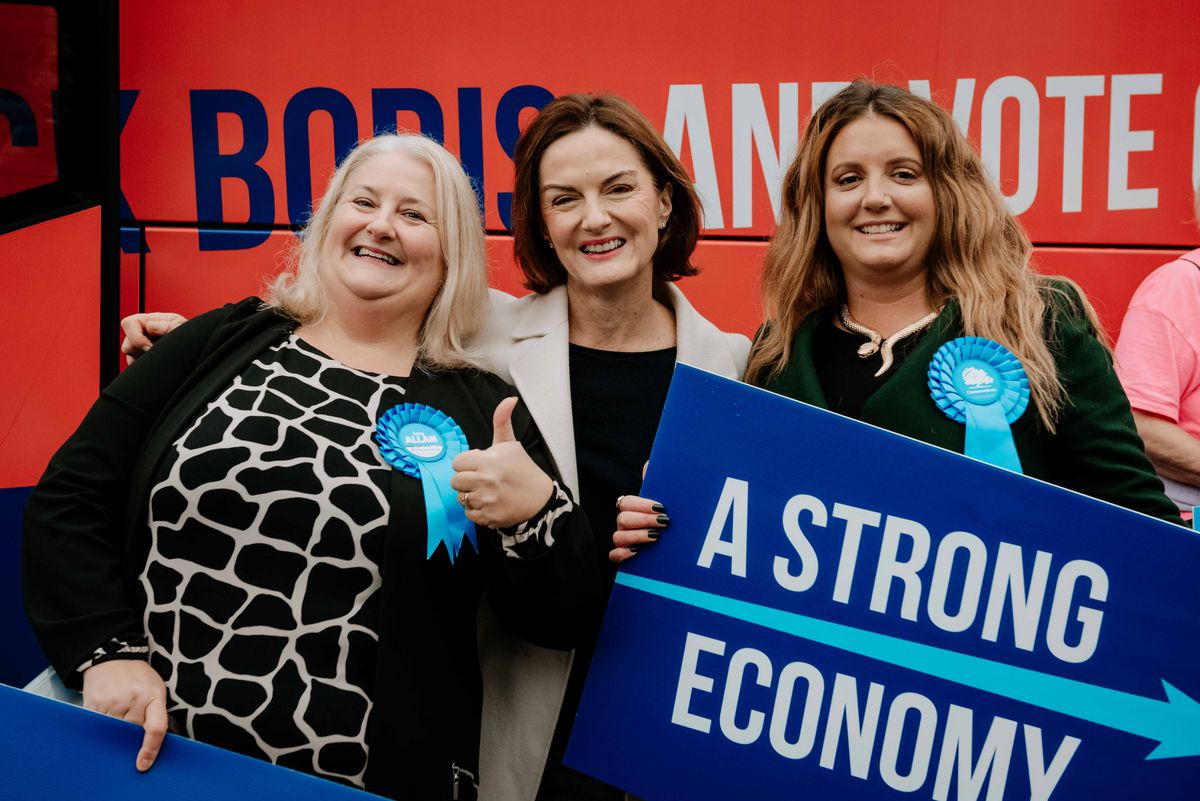 Telford MP Lucy Allan, centre, with local Conservative chairman Nicola Lowery, right