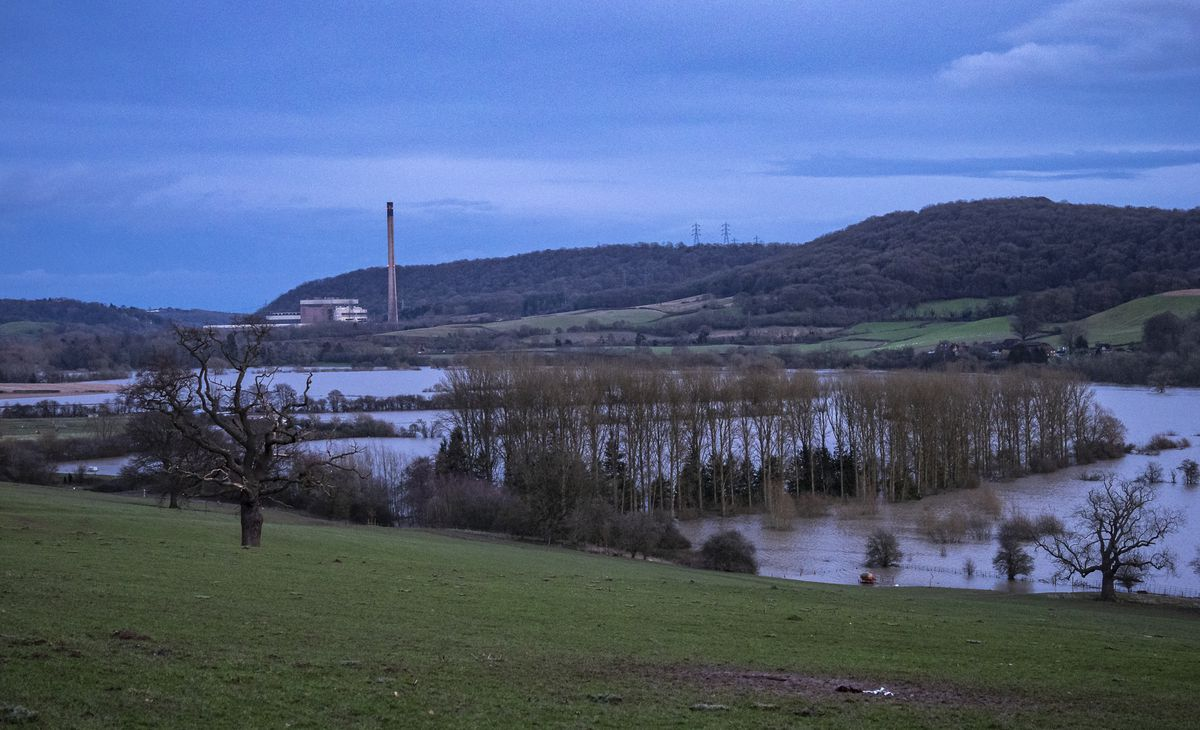 The flood plain at Buildwas looking down towards the former Ironbridge Power Station. Photo: Dylan Evans