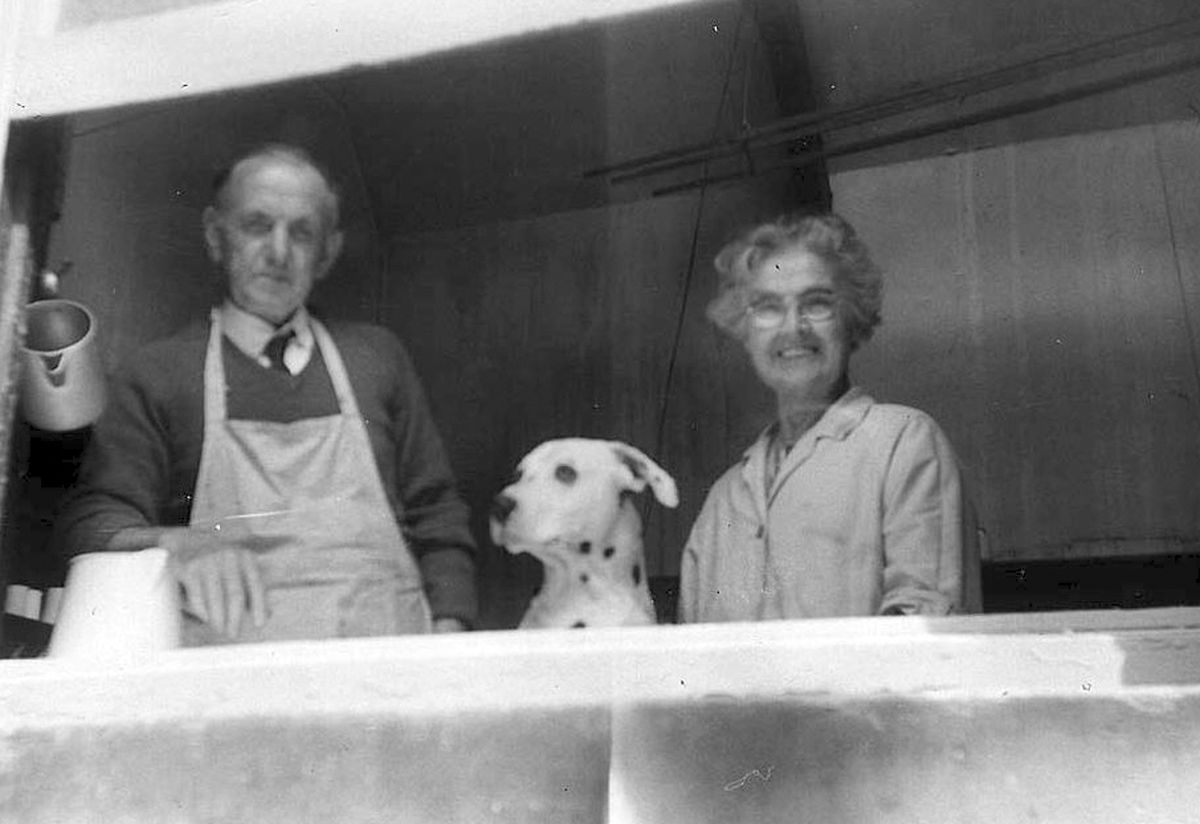 Mr and Mrs Roberts with Spot.