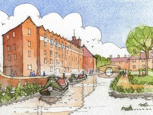 A sketch of how the canal outside the Flaxmill could look drawn by Alan Reade