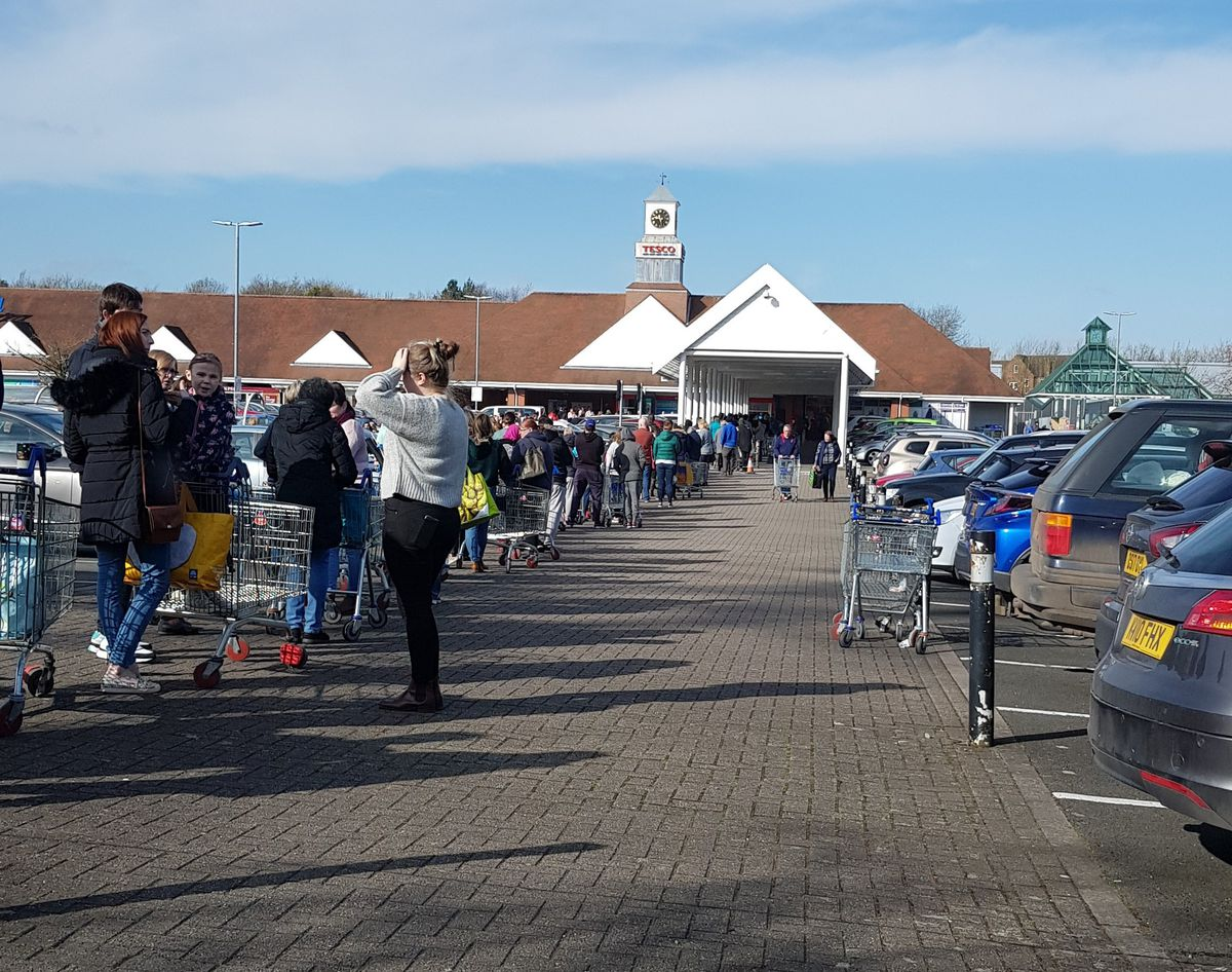 The scene at the Tesco Extra at the Wrekin Retail Park near Wellington. Picture: Steve Cort