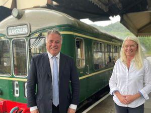 Government minister Amanda Milling MP and Simon Baynes MP at the Llangollen Railway