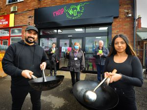 Opening Chop and Wok, Wellington, front; owners Anil Dass and Sonyia Bansal, with left-right) councillors Graham Cook, Julie Pierce and John Thompson