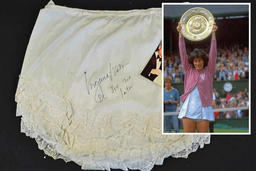 8f936447863 Mystery behind buyer of tennis champ Virginia Wade s undies as they ...