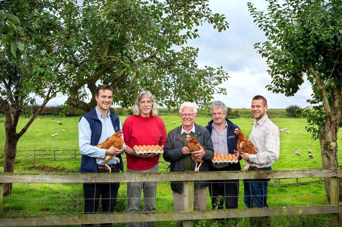 Three generations of the Griffiths family help run Oaklands Farm Eggs Ltd: Jonathan Griffiths (grandson), Elwyn Griffiths (son), Aled Griffiths (founder), Gareth Griffiths (son), Michael Griffiths (grandson)