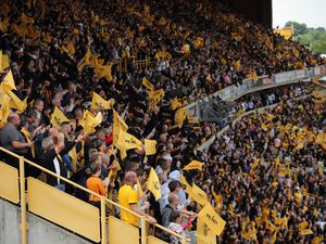 Wolves fans waving flags at Molineux Stadium (AMA)