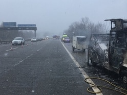 Delays on the M54 after camper van fire