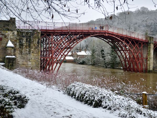 Snow alongside the River Severn in Ironbridge. Shropshire is braced for flooding and further snowfall