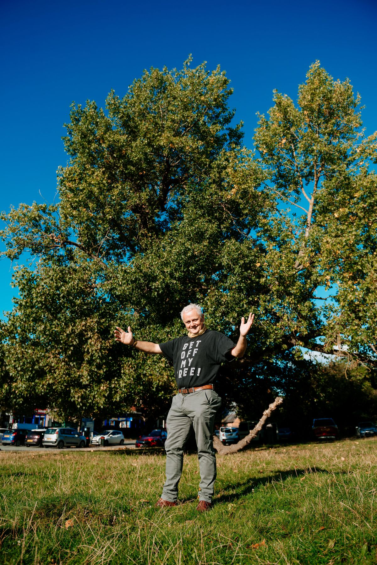 Rob McBride, the Tree Hunter from Ellesmere with Newtown's Black Poplar tree