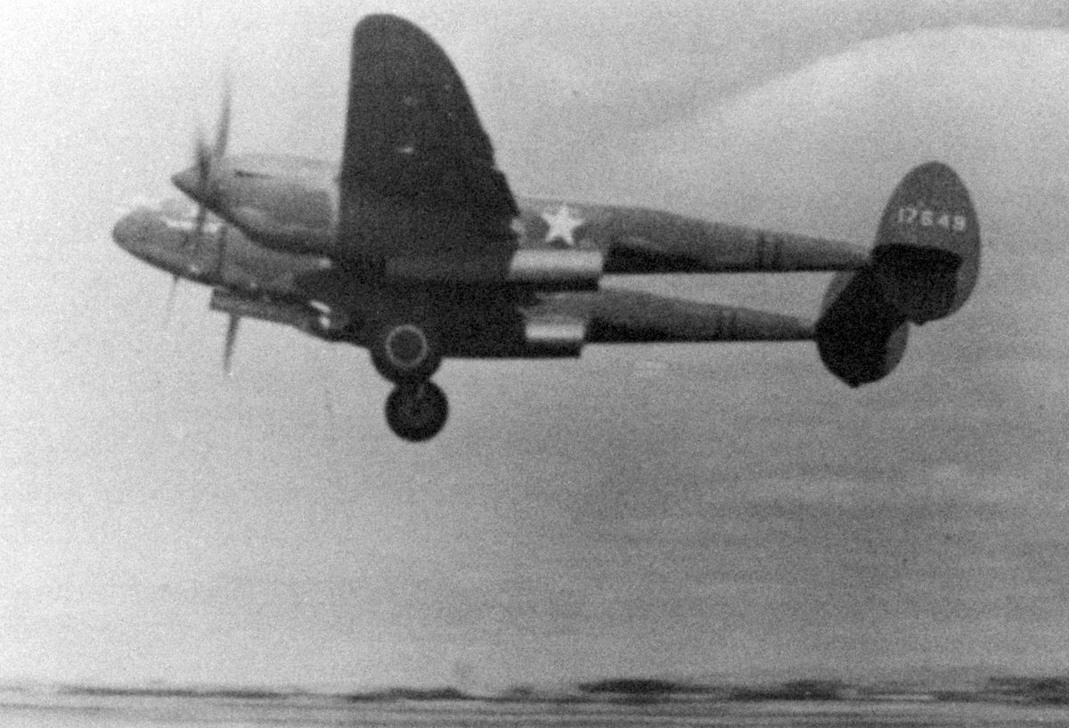 An American P-38 Lightning fighter taking off from Atcham airfield during the war. Picture: Steven Preshous.