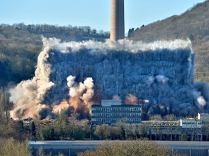 LAST COPYRIGHT SHROPSHIRE STAR STEVE LEATH 27/02/2021..Pic in Ironbridge at the latest round of demolition at the Power Station..