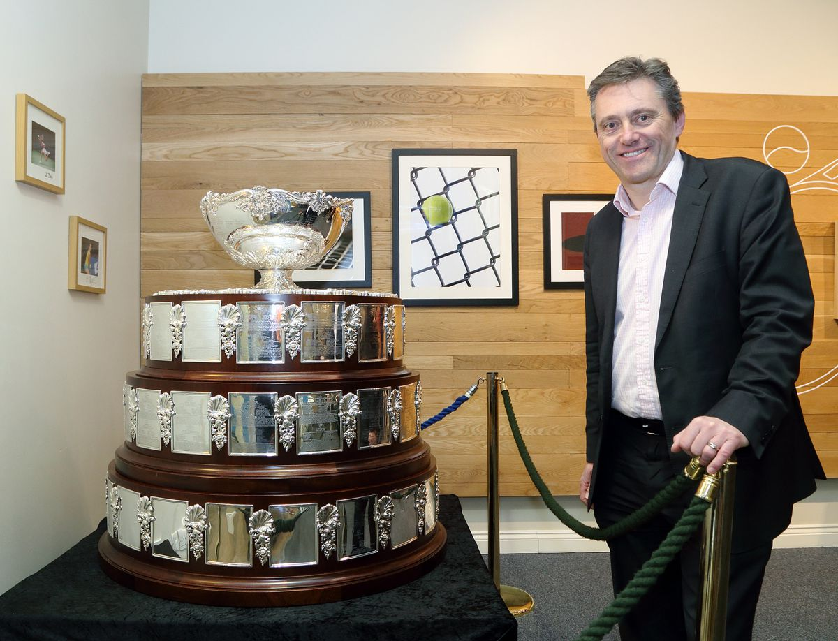 Dave Courteen, managing director of The Shrewsbury Club, with the Davis Cup