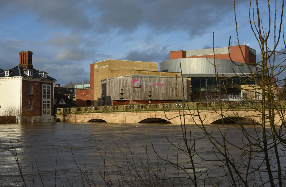Theatre Severn and the Welsh Bridge, Shrewsbury, on Monday. Photo: Russell Davies