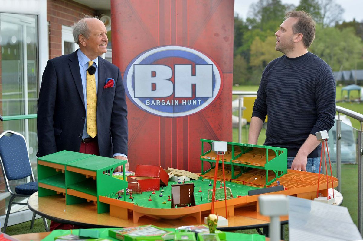 Bargain Hunt specialist: Charlie Ross, chats with Subbuteo Collector: Stewart Grant, from Essex.