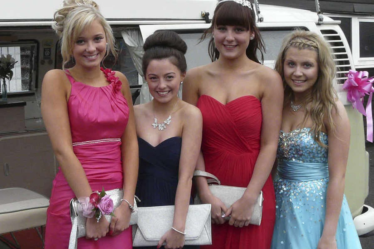 A 1972 VW camper van was the mode of transport for Sasha Gardiner, Hollie Jones, Emily Carrick and Molly House to their prom at Grange School, Shrewsbury