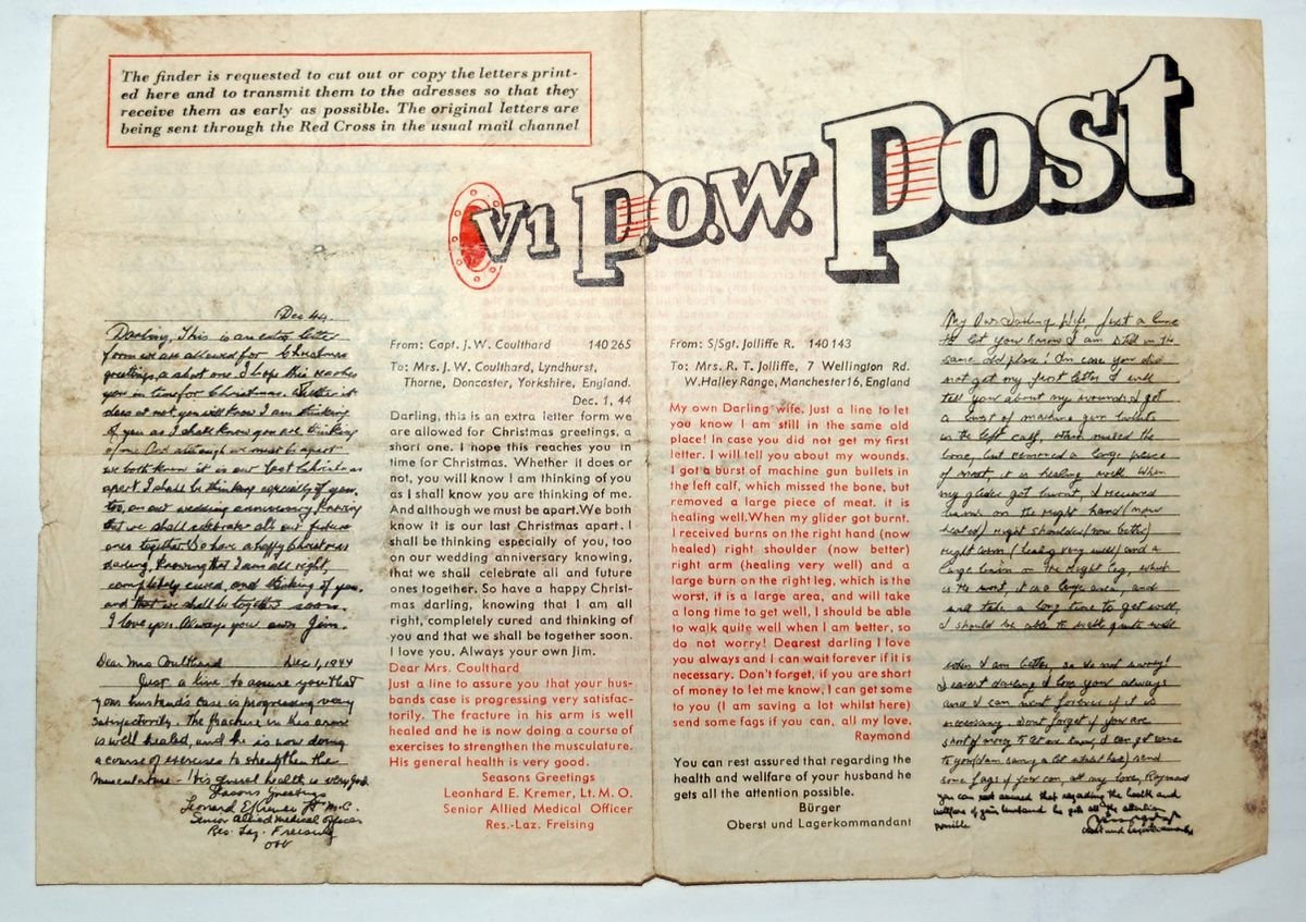 """The late John Durnell's extremely rare copy of the """"V1 P.O.W. Post"""" which was delivered to Newport in a flying bomb."""