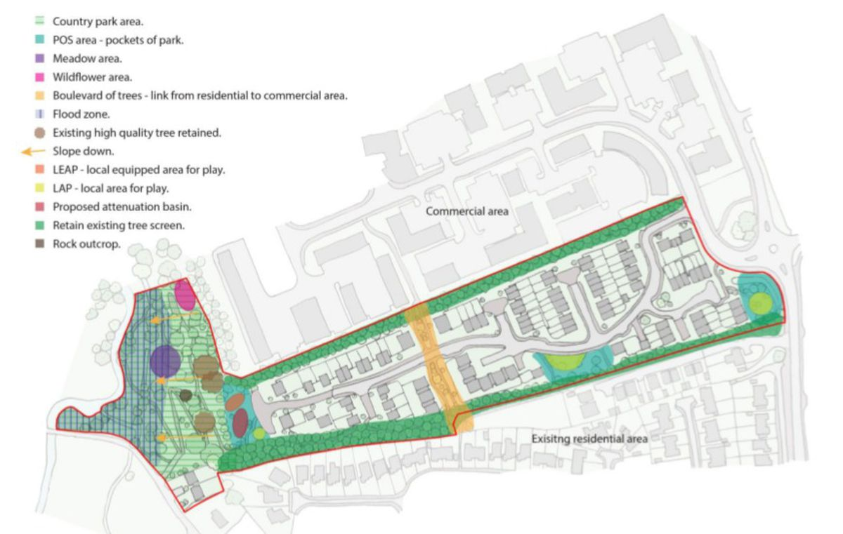 An overview of the plan, with Shrewsbury Road on the right of the picture and the River Tern on the left. Photo: Curtin & Co