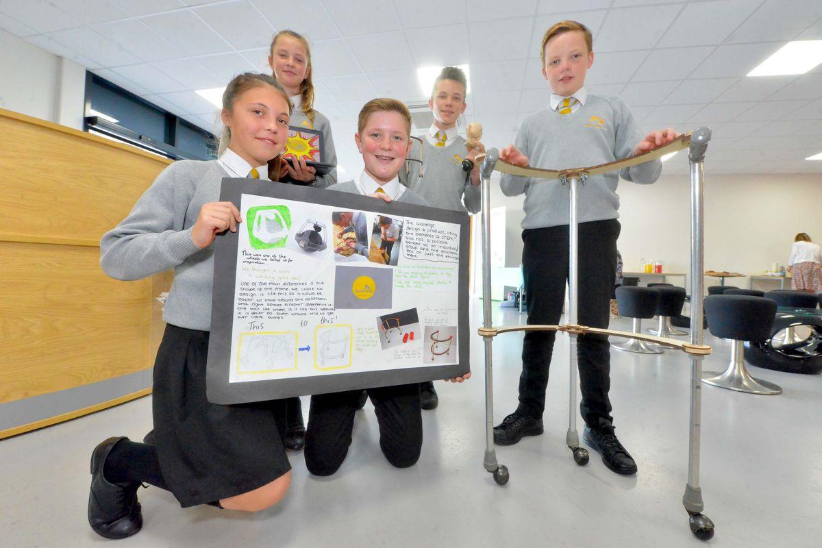 Sir John Talbot School: Optimum, Rebecca Elsley, 13, McKenzie Birch, 13, Sadie Heath, 12, Will Gilbert ,12, and Thomas Howey, 13, with their Omniwheel walker