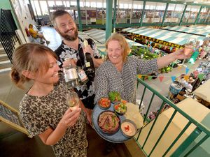 Traders Alison Staples from Romy Design, Darren Tomkins from Gindifferent and Natalie Jenkins from Black Box Spices
