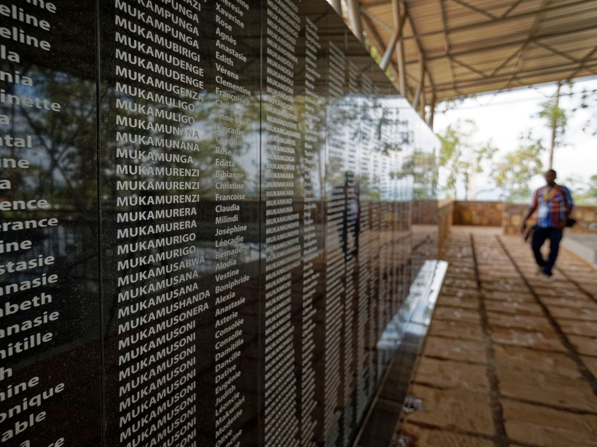 The names of those who were slaughtered as they sought refuge are written on a memorial to the thousands who were killed in and around the Catholic church during the 1994 genocide in Ntarama, Rwanda