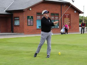 Eric Gluth tees off at Oswestry Golf Club
