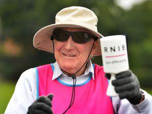 Completing a marathon over seven days, raising money for RNIB, severely visually impaired David Smith, at Market Drayton Town Park