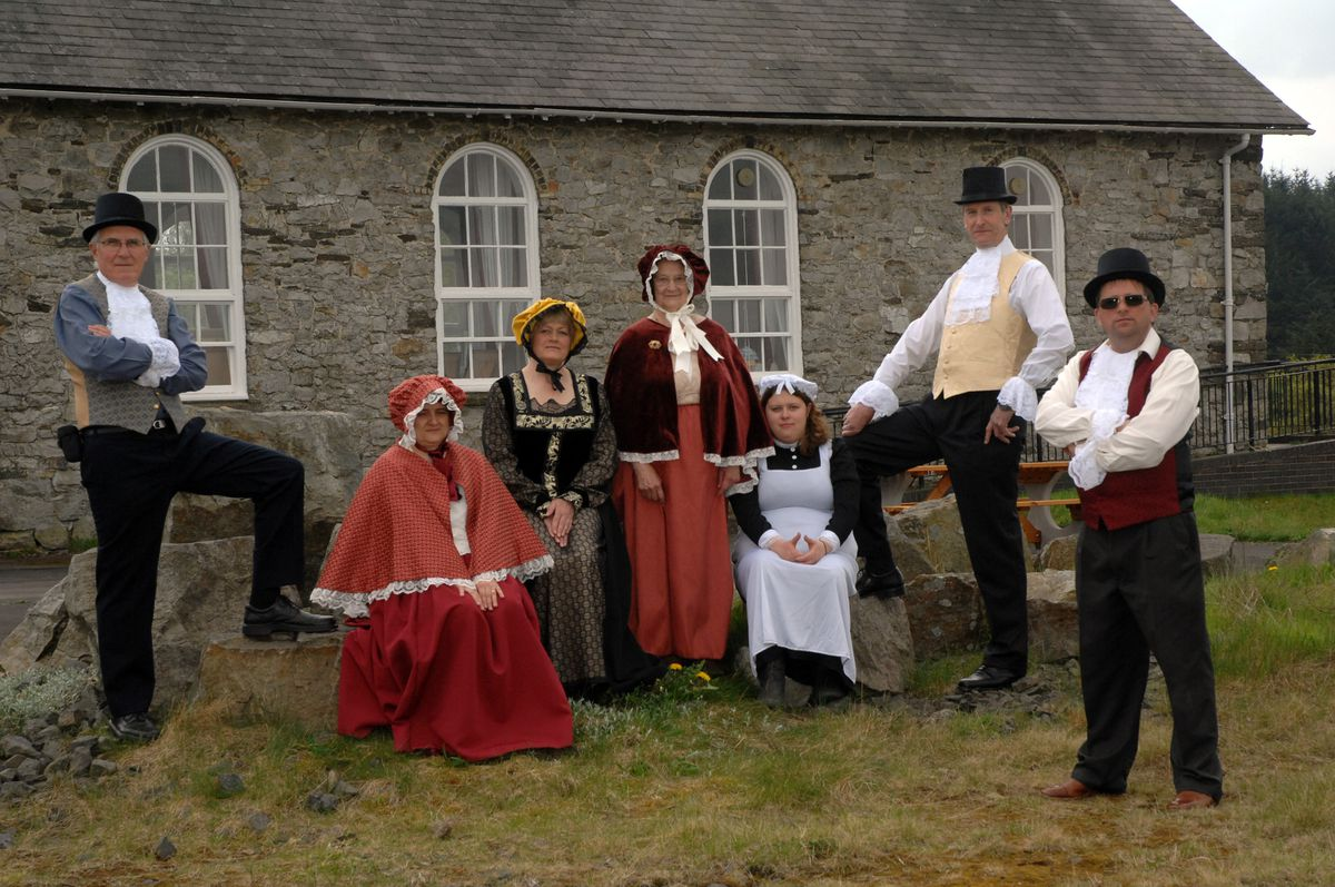 Staff in period dress at The Bog Visitor Centre on the Stiperstones