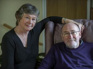 Noel Conway, pictured with his wife Carol, has used the history and landmarks of Shropshire as a source for his two novels