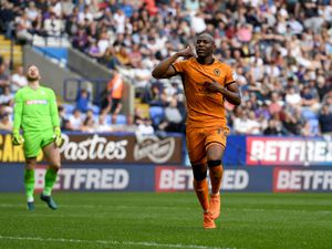 Benik Afobe of Wolverhampton Wanderers celebrates after scoring a goal to make it 0-2.