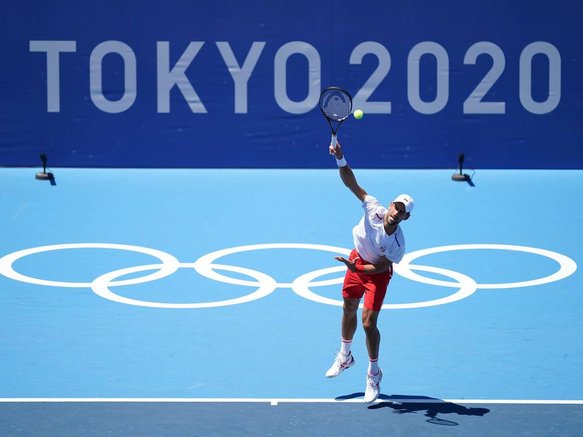Novak Djokovic practices at the Ariake Tennis Park