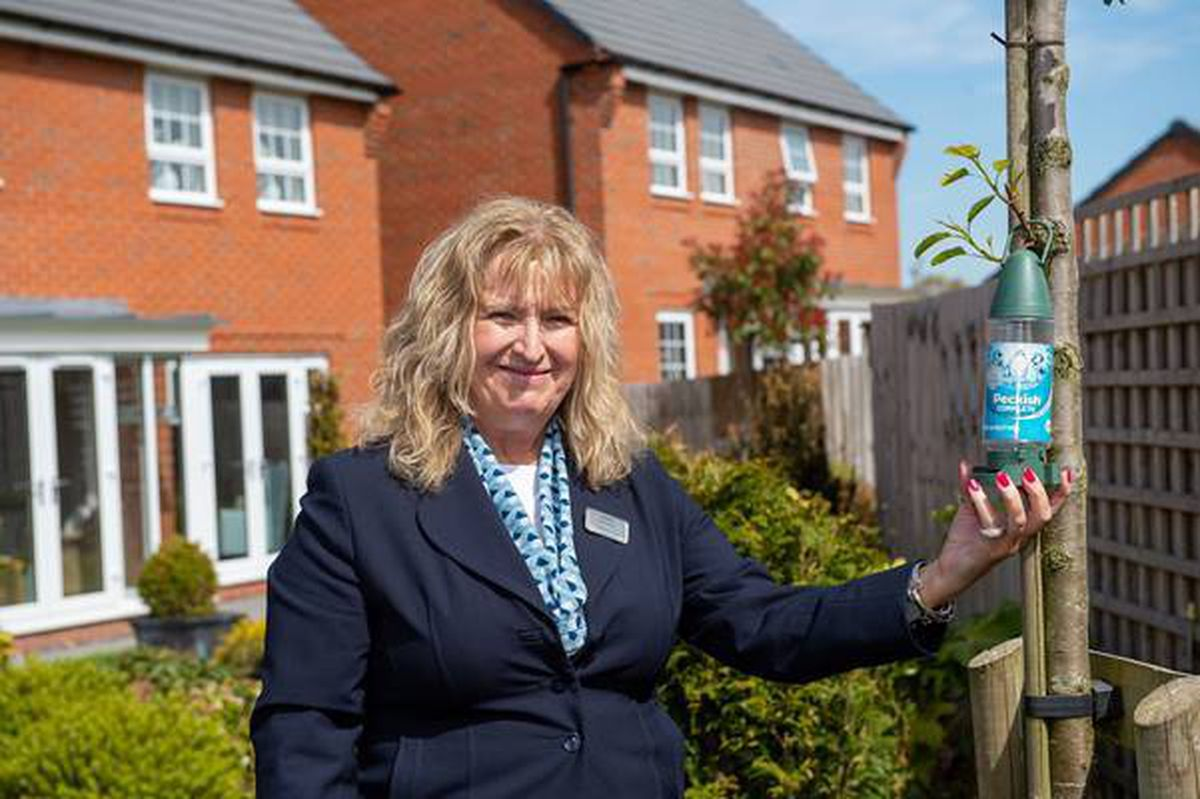 Sales adviser Sharon in the show home garden at Drayton Meadows