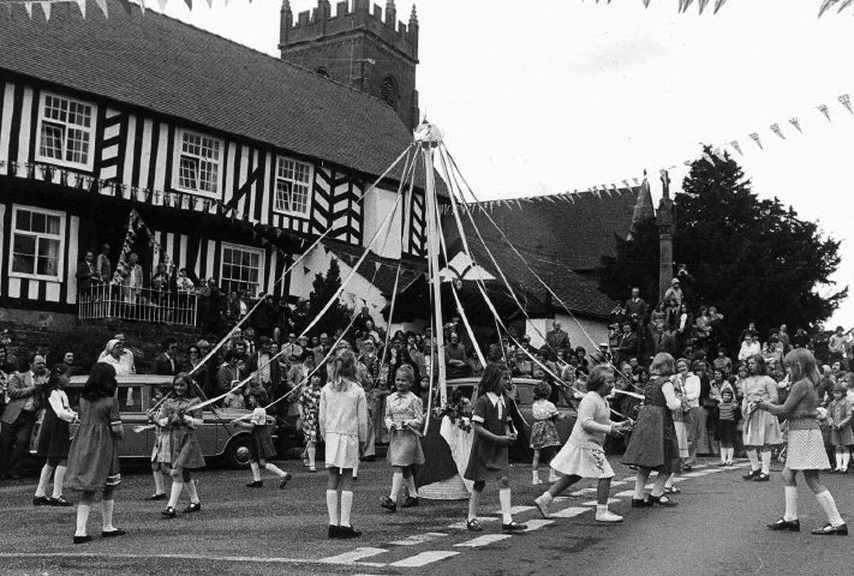 Maypole dancing in Claverley as part of the celebrations.