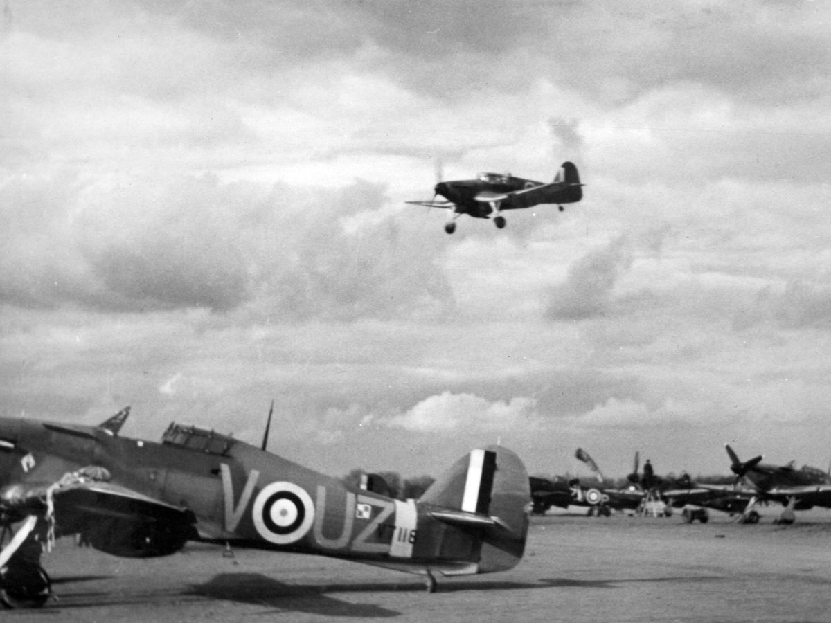 A Miles Master trainer of the type flown by Carr coming in to land at RAF Tern Hill in 1940 or 1941. Picture courtesy of Wilhelm Ratuszynski.